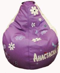 кресло-мешок с вышивкой имени
