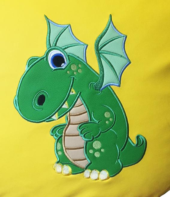 динозавр вышивка на кресле
