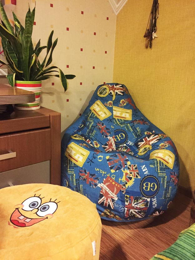 мягкое кресло пуф бескаркасная мебель