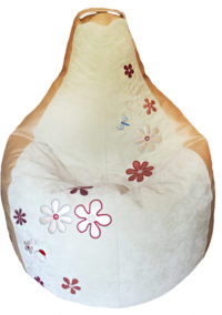 кресло груша с вышивкой цветов