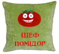 подушка с вышивкой логотипов