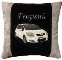 подарок автомобилисту, подушка с вышивкой авто