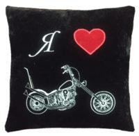 подушка с вышивкой, подарок мотоциклисту