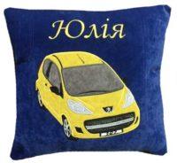 именная подушка с логотипом авто