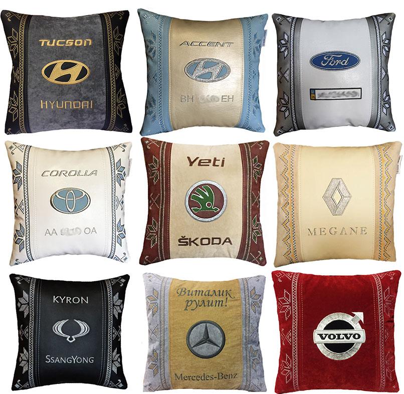 подушка с маркой машины, вышивка логотипа
