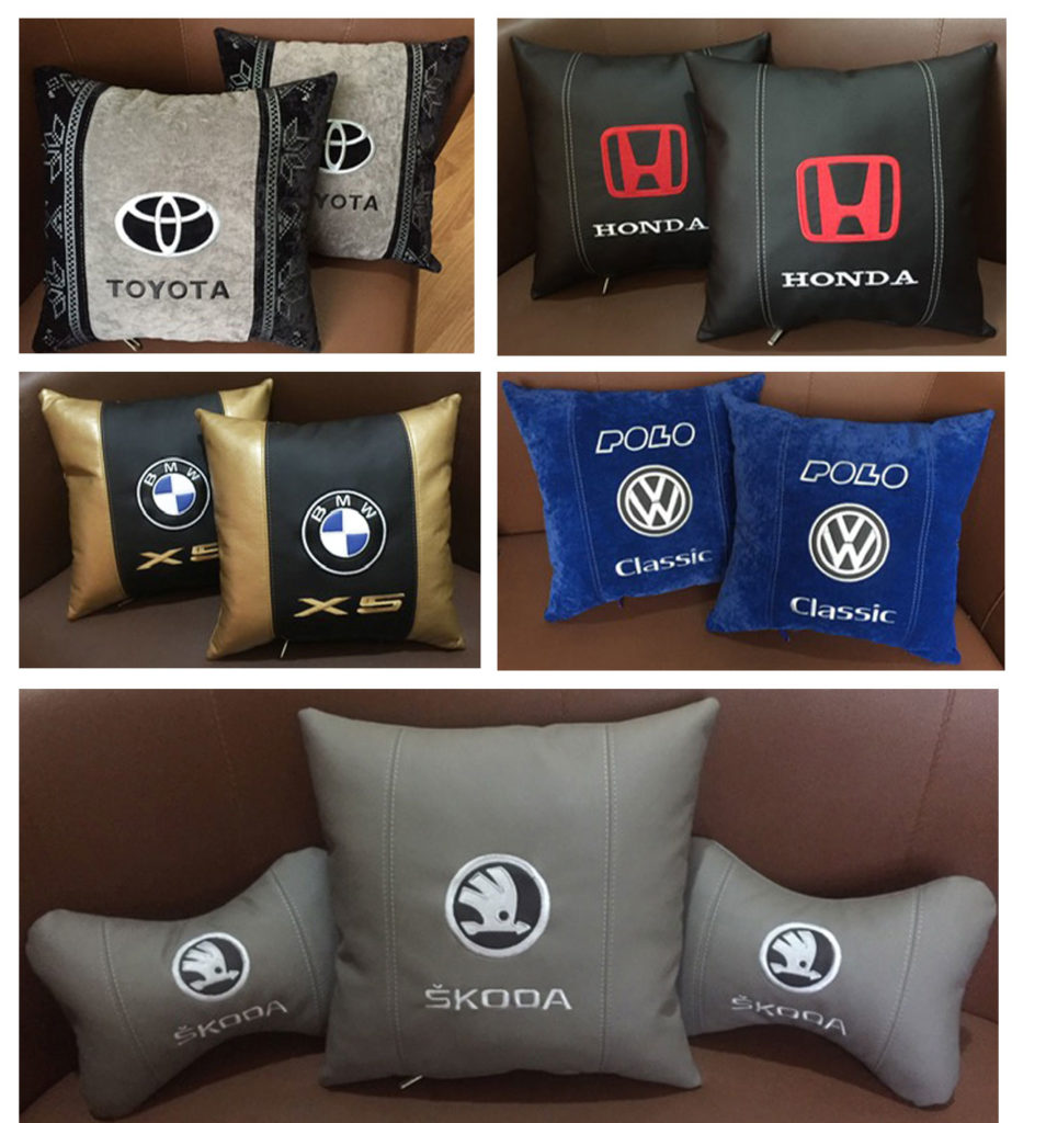 подушка с логотипом авто подголовники