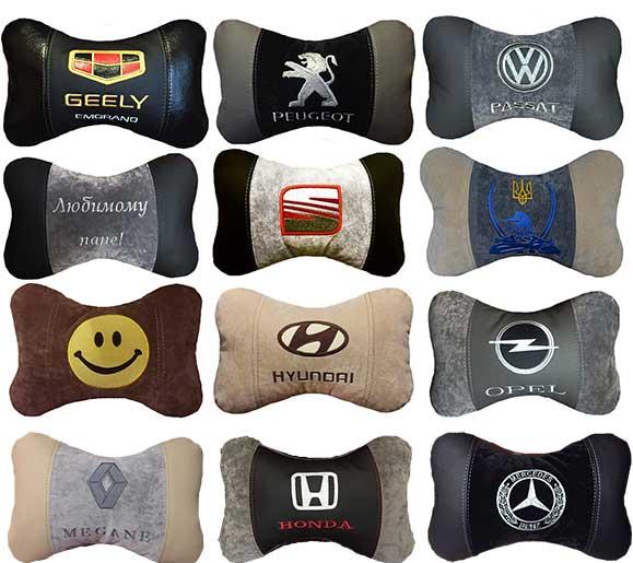 подушка подголовник с логотипом, автоаксессуары