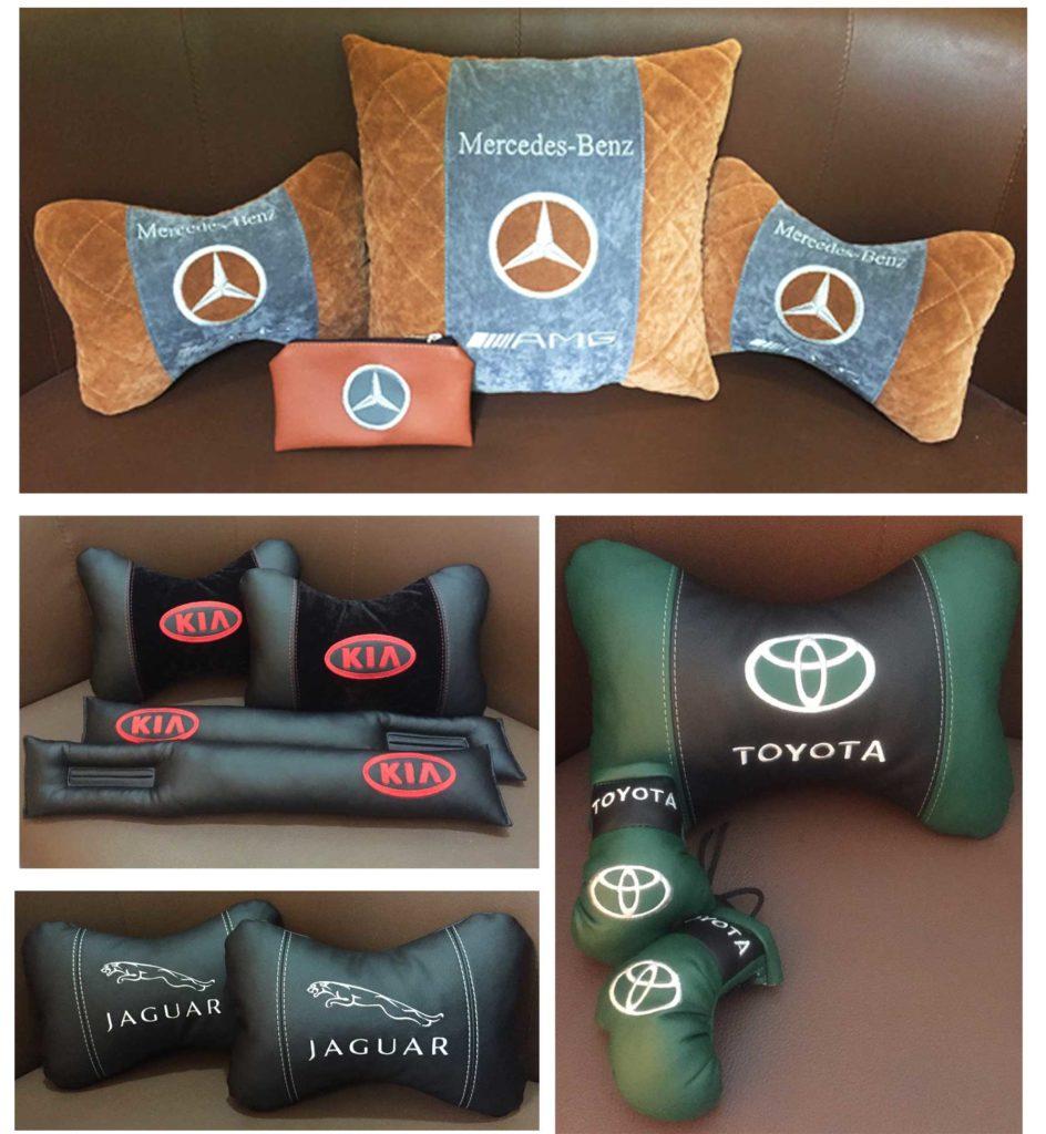 подушки автомобильныес логотипом, автоподарок, подголовники