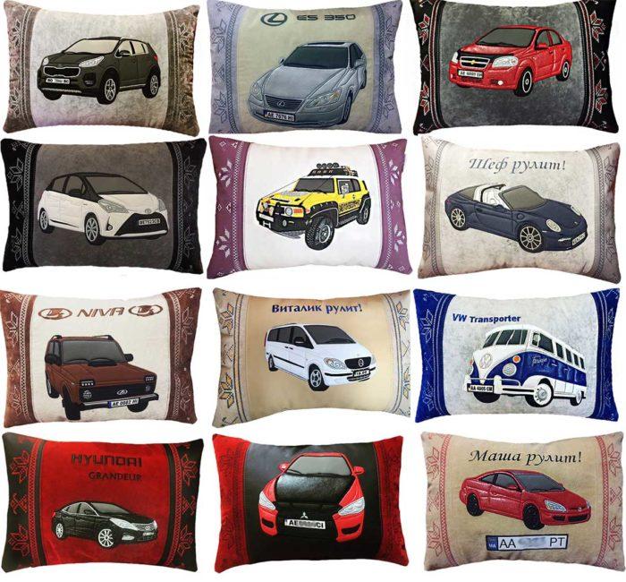 подушка автомобильная с логотипом, силуэтом машины