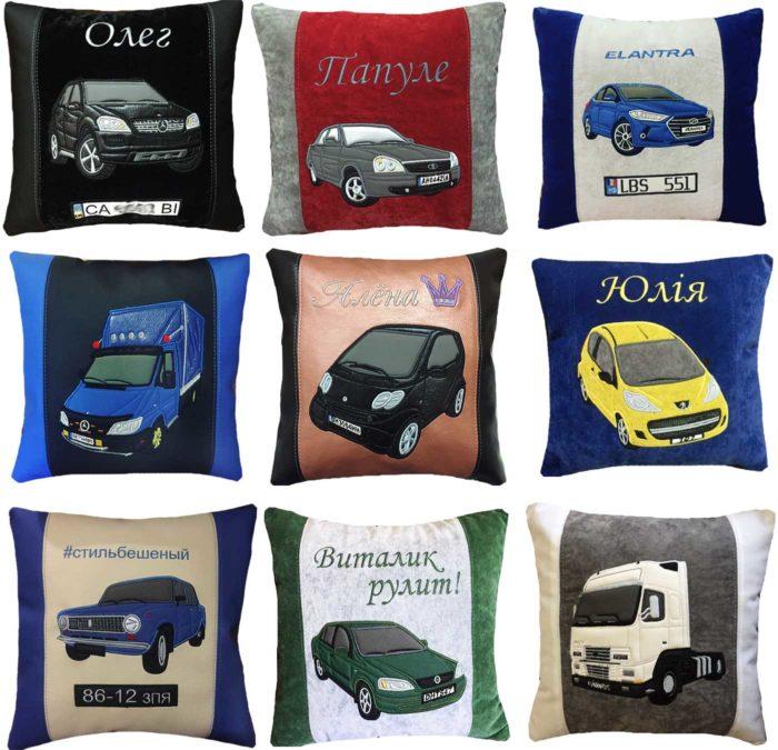 автомобильная подушка с логотипом, с силуэтом авто, автоаксессуары