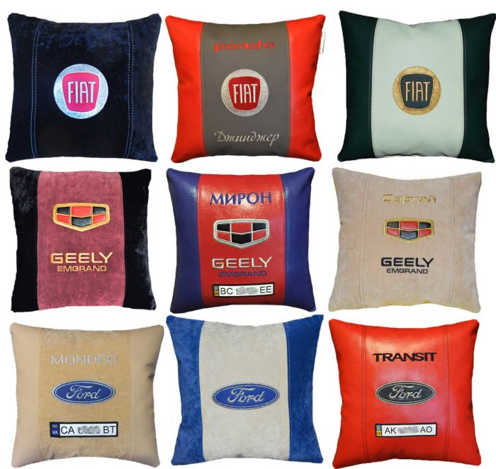 подушка с логотипом форд фиат джилли эмгранд сувениры