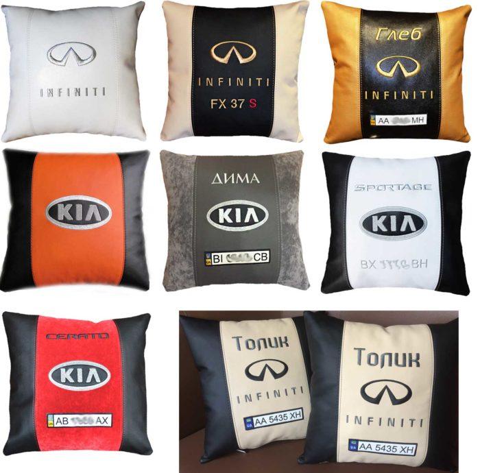 подушка с лого автоаксессуары киа инфинити