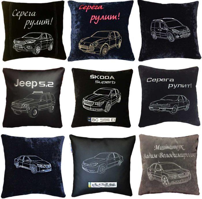 подушка с вышитой машиной, сувениры в авто