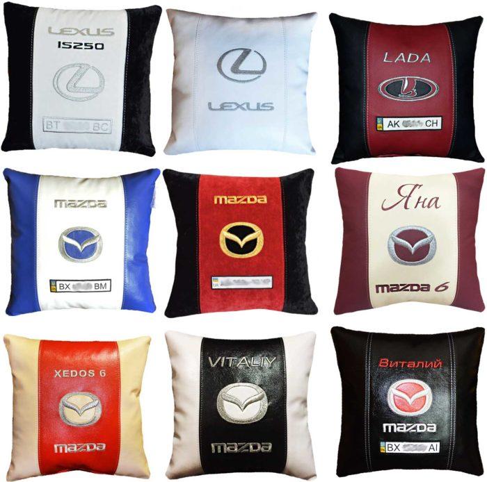 подушка с логотипом мазда, лексус