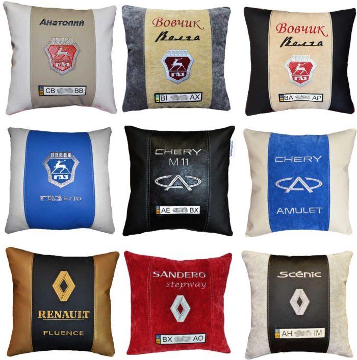 автономера, подушка с логотипом рено, волга